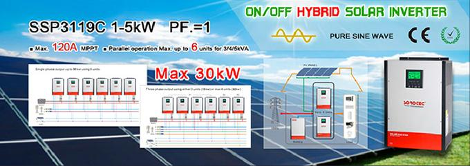 On / off Grid Hybrid Solar Inverter , 2kva MPPT most efficient power inverter 24v