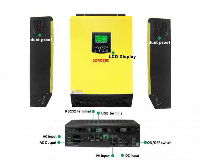 LCD Display Hybrid Solar Inverter 3KW 3.2KW 5.5kW Pure Sine Wave On / Off Grid